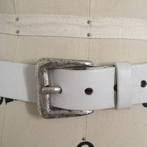 White Leather Streets Ahead Belt